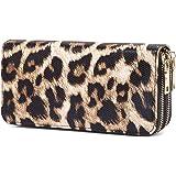 VISATER Leopard Wallets for Women Animal Print Purse Long Zipper PU Leather Slots Moneybag