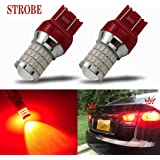 iBrightstar Newest 9-30V Strobe Brake Lights 7440 7443 T20 LED Bulbs with Projector replacement for Tail Brake Stop Lights, B