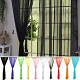 Tulle Voile Curtains Lace Window Curtains Sheer Panels Blackout Curtains for Home Decorations Wedding Party 1 Pair 12 Colors,
