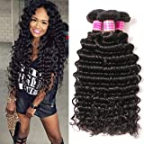 VRBest Brazilian Deep Wave 100% Unprocessed Virgin Brazilian Hair Bundles Deep Curly Human Hair Extensions Natural Color (10