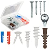 Qualihome Drywall and Hollow-wall Anchor Assortment Kit Anchors Screws Wall Anchor Hooks and Hollow-door Toggle 112 Pieces