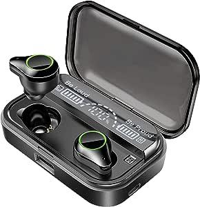 Bluetooth イヤホン 最新bluetooth 5.0+EDR搭載 【技適&PSE認定済み】低音重視 ステレオ 自動ペアリング マイク内蔵 CVC8.0ノイズキャンセリング 4000mAh IPX7防水 電池残量インジケーター付き 完全ワイヤレス ブルートゥース イヤホン Hi-Fi 高音質 AAC対応 ステレオ 両耳 左右分離型