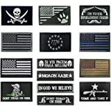 Antrix 14 Pieces Tactical USA Flag Thin Blue Line Patch USA Punisher Don't Tread On Me Come and Take It Huckleberry Morale Pa