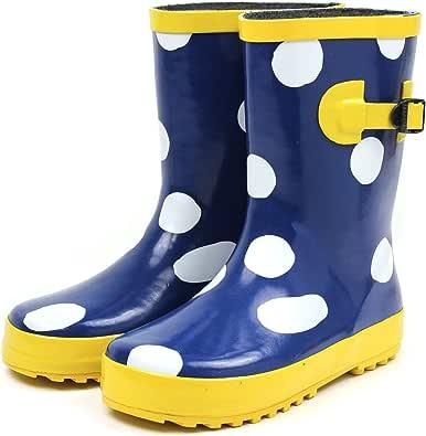[セレブル] レインブーツ キッズ 女の子 男の子 ジュニア 長靴 雪 子供靴 ビッグドット ネイビー 15cm