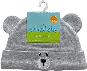 growbaby Infant Hat 新生児用(0~3カ月) 帽子 ジャージー地綿100%,クマさん帽子 グレー 23526
