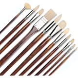 11pcs Professional Paint Brush Set-100% Natural Chungking Hog Bristle Artist Brushes for Acrylic Gouache Oil Painting with a