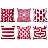 Topfinel Decorative Throw Pillow Cover Set Soft Microfiber Outdoor Cushion Covers 16 X 16 for Couch Bedroom Car, Pack of 6, B
