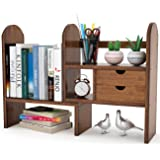 Tribesigns Bamboo Desktop Bookshelf Counter Top Bookcase Adjustable with 2 Drawers, Desk Storage Organizer Display Shelf Rack