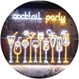 Cocktail Party Home Bar Club Pub Dual Color LED看板 ネオンプレート サイン 標識 白色 + 黄色 400 x 300mm st6s43-i3175-wy