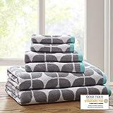 "Intelligent Design ID91-523 Lita 6 Piece Cotton Jacquard Towel Set, 28 x 54""(2)/16 x 26""(4), Grey"