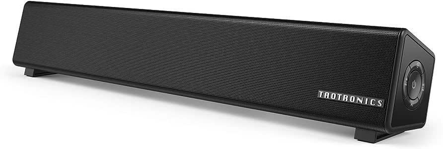 TaoTronics PC スピーカー Bluetooth 10W出力 小型 サウンドバー テレビ TV パソコンスピーカー デュアルパッシブラジエーター 壁掛け可 電源アダプター接続【12ヶ月+18ヶ月間国内安心保証】 TT-SK025
