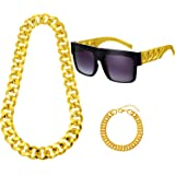 Hip Hop Costume Kit Metal Chain Flat Top Sunglasses Rapper Big Links Chain Necklace Bracelet for 80s 90s Rapper Accessories