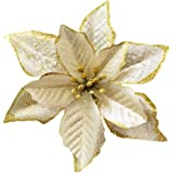 Christmas Glitter Poinsettia Christmas Tree Ornaments Pack of 12 (Gold)