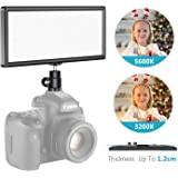 Neewer Super Slim Bi-Color Dimmable LED Video Light with LCD Display - Ultra High Power On Camera LED Panel, 3200K-5600K for