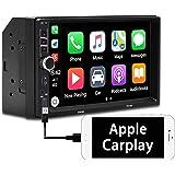 Binize 7 Inch Double Din Apple Carplay/Android Auto, Touchscreen Audio Radio Receiver/MP5 Player, Bluetooth/FM/RCA/Mirror Lin