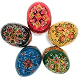 BestPysanky Set of 5 Ukrainian Wooden Easter Eggs