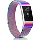 Meliya Metal Bands Compatible with Fitbit Charge 2, Stainless Steel Magnetic Lock Replacement Wristbands for Fitbit Charge 2