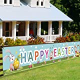 Happy Easter Banners, Welcome Spring Easter Themed Party Banner, Lawn Sign Backdrop Banner for Indoor Outdoor Easter Party Su