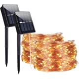 Solar String Lights Outdoor,ALED LIGHT 2 Pack 30M/98.2ft 300 LED Copper Wire Light Waterproof Luminous LED String Lighting Ch
