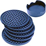 Enkore Drink Coasters Silicone Set of 6 with Holder, Navy - Good Grip, Large Size Deep Condensation Trap - Furniture Friendly