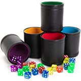 Game Night Pack, Assorted Colors - 5 Professional Shaker Cups with Velvet Felt-Lined Interior, Quality Bicast Leather Exterio