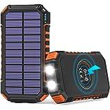 【Amazon限定ブランド】ADDTOP モバイルバッテリー ソーラー 26800mAh 大容量 ソーラー充電器 Type-c 3つ出力ポート ワイヤレス急速充電 PSE認証済 防水 耐衝撃 高輝度LEDライト ソーラーチャージャ一 iPhone/i