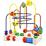 Fajiabao Wooden Activity Cube for Baby Bead Maze Fruits Slide Counting Math Abacus Montessori Sensory Toys Roller Coaster Edu