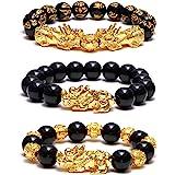 SOOWOOT 3Pcs Feng Shui Black Obsidian Bracelets Set - Good Luck Amulet Dragon Lucky Charm Bracelets Pi Xiu Pi Yao Attract Luc