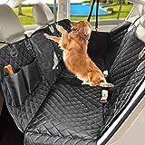 TrutDotペット用ドライブシート 可視メッシュ窓 車内用ペットシート ペット安全ベルト付き ペットドライブシート後部…