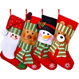 "Lvydec 4 Pack Christmas Stockings, 15"" Large Size Xmas Stocking Set with Christmas Snowman Santa Reindeer Bear Fireplace Deco"