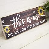 AAZZKANG This is Us Wood Sign Printed Sunflower Decorative Wall Signs Rustic Farmhouse Home Decor Plaque for Living Room Bedr