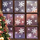 LUDILO 135Pcs Christmas Window Clings Snowflakes Window Decals Static Window Stickers for Christmas Decorations Window Décor