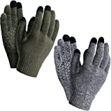 TSLA (Pack of 1, 2) Men and Women Touch Screen Winter Gloves, Texting Anti-Slip Thermal Knit Gloves, Cold Weather Running Glo