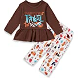 SEVEN YOUNG Thanksgiving Outfits Kids Toddler Baby Girls Maple Leaf Dress Shirt+Bell-Bottomed Pants Sets Fall Clothes