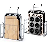 Bextsware 2 Pack Over the Door/Wall Mount Cabinet Organizer Storage Basket in Kitchen or Pantry for Cutting Board, Aluminum F