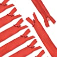 (Red) - Renashed 45pcs Mix Nylon Invisible Zippers for Tailor Sewer Sewing Craft Crafter's Special - 50cm 20 Colours (Red)