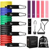 KEEPACE Resistance Bands Set (16PCS) 150LBS Exercise Workout Bands with 5 Resistance Loop Bands for Women Men 5 Stackable 100