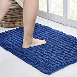 Walensee Bathroom Rug Non Slip Bath Mat (24x17 Inch Dark Blue) Water Absorbent Super Soft Shaggy Chenille Machine Washable Dr