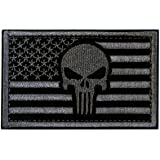 Tactical Patches of American Flag with Skull, Backed with Hook and Loop for Use on Backpacks Caps Jackets Uniforms, Military