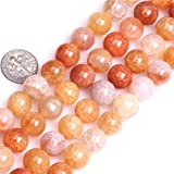 10mm Natural Crackled Agate Beads Round Gemstone Loose Beads for Jewelry Making (38-40pcs/strand)