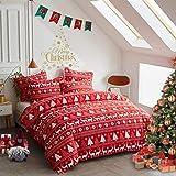 FlySheep Christmas Comforter Set Soft Microfiber Holiday Merry Christmas Lightweight Bedding - Elk Deer Christmas Tree Snowfl