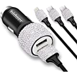 Bling USB Car Charger 5V/2.1A White Crystal Decoration Dual Port Fast Adapter with 3.9ft Nylon Type C/Micro USB 3-in-1 Multi