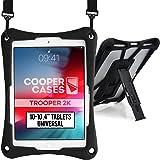 Cooper Cases TROOPER 2K 耐衝撃 ケース 【 10-10.4 インチ タブレット 汎用サイズ 】 ショルダー ストラップ スタンド シリコン 吸収 持ち運び 頑丈 丈夫 (ブラック)