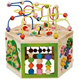 EverEarth EE33285 Garden Activity Cube. Wood Shape & Color Sorter, Bead Maze & Counting Baby Toy
