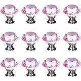IQUALITE 12pcs Diamond Shape Crystal Glass 30mm Cabinet Drawer Knob Pink