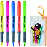 ビック 蛍光ペン マーキングハイライターグリップ 5色 BICボーイケース付 MHLGASS5P