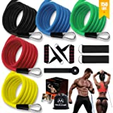YUNYUE Resistance Bands Set,Workout Bands for Men & Women,Stackable Up to 150 lbs,Home Gym Equipment Dumbbell Set Partner, Pe