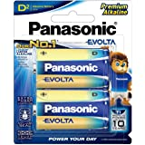 Panasonic Evolta Premium Alkaline D-Size Batteries, 2-Pack (LR20EG/2B)