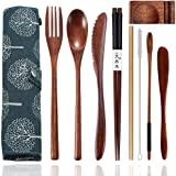 Cennsa Cutlery Set Portable, Reusable Travel Cutlery & Utensils Set with Case, 9-Piece Flatware Including Knife Fork Spoon Ch