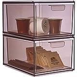 "STORi Mod Stackable Kitchen Organizer 4-1/2"" Tall Drawers   set of 2   Mocha Mist"